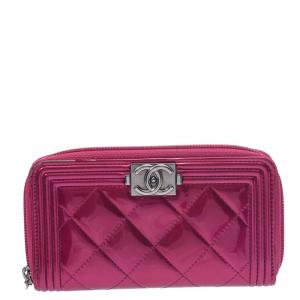 Chanel Pink Leather Zip Around Wallet