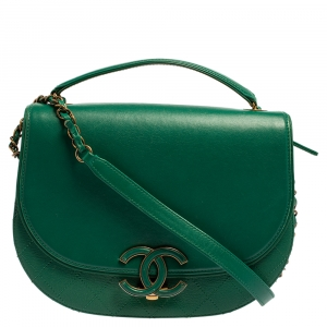 Chanel Green Quilted Goatskin Leather Coco Curve Flap Bag