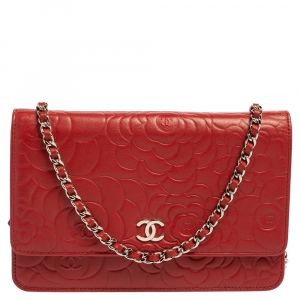 Chanel Red Leather Camellia Wallet On Chain
