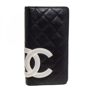 Chanel Black Leather Cambon Ligne Yen Long Wallet