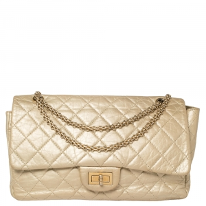 Chanel Metallic Beige Quilted Leather Reissue 2.55 Classic 227 Flap Bag