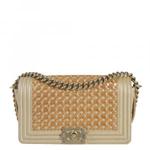 Chanel Beige Leather Boy Shoulder Bag