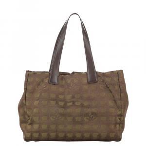 Chanel Brown/Light Brown Nylon Travel Line Tote Bag