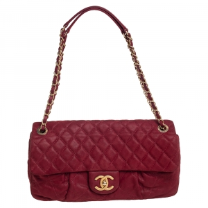Chanel Red Shimmer Quilted Leather CC Pleats Flap Bag