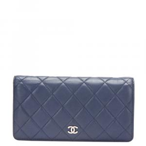 Chanel Blue Lambskin Leather CC Wallet