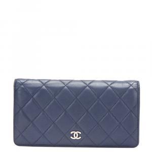 Chanel Blue Lambskin Leather CC Wallet