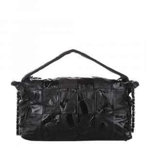 Chanel Black Lambskin Leather Choco Bar Shoulder Bag