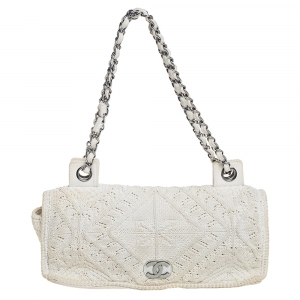Chanel White Crochet Fabric Classic Flap Bag
