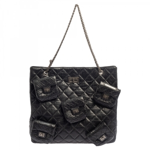 Chanel Black Quilted Crinkled Leather 5 Pocket Reissue Bag
