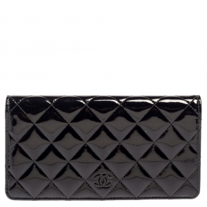 Chanel Black Quilted Patent Leather Flap Long Wallet