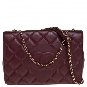 Chanel Burgundy Quilted Leather Diamond CC Flap Shoulder Bag