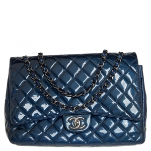 Chanel Blue Quilted Patent Leather Maxi Classic Double Flap Bag