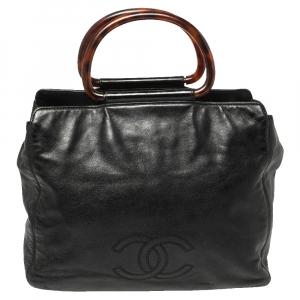 حقيبة يد توتس شانيل حلقة تورتويس سي سي جلد سوفت أسود