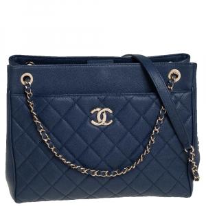Chanel Blue Caviar Leather Urban Companion Shopping Tote
