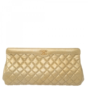 Chanel Gold Caviar Leather Large CC Frame Clutch