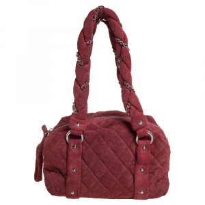 Chanel Burgundy Quilted Suede Lady Braid Satchel