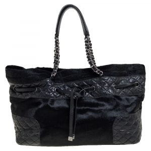 Chanel Black Quilted Aged Leather and Calfhair Drawstring Tote
