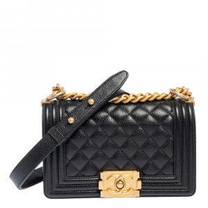 Chanel Black Quilted Caviar Leather Small Boy Flap Bag