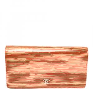 Chanel Orange Striped Patent Leather CC Wallet