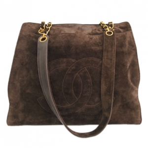 Chanel Brown Suede Leather Tote
