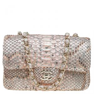 Chanel Gold/Pink Python New Mini Classic Single Flap Bag
