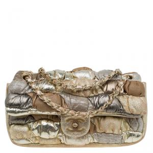 Chanel Metallic Gold Leather Royal Patchwork Classic Flap Bag