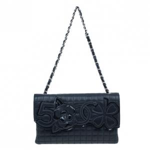 Chanel Black Lambskin Camelia No.5 Flap Bag