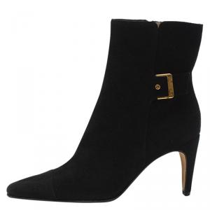Chanel Black Leather Buckle Ankle Boots Size 37.5