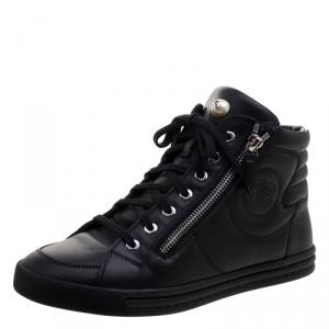 Chanel Black Leather CC Double Zip Accent High Top Sneakers Size 38.5