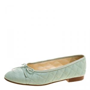 Chanel Mint Green Quilted Leather CC Bow Ballet Flats Size 38