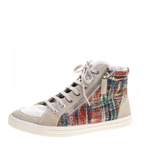 Chanel Multicolor Tweed Printed Fabric And Perforated Leather High Top Sneakers Size 38
