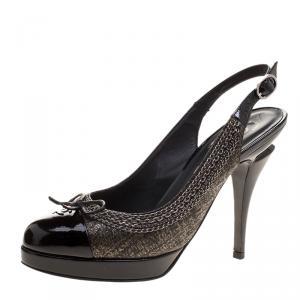 Chanel Black Leather CC Cap Toe Slingback Sandals Size 36.5