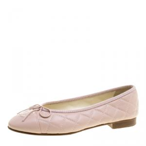 Chanel Light Pink Quilted Leather CC Bow Ballet Flats Size 36