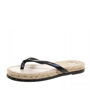 Chanel Black Leather CC Flip Flops Size 37