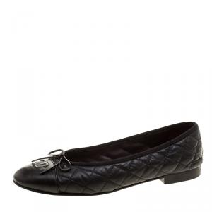 Chanel Black Quilted Leather CC Bow Ballet Flats Size 38