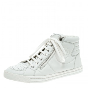 Chanel White Leather CC High Top Sneakers Size 39.5