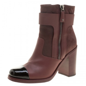 Chanel Burgundy Quilted Leather Cap Toe Block Heel Ankle Boots Size 38