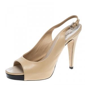 Chanel Beige Leather CC Peep Toe Platform Slingback Sandals Size 39