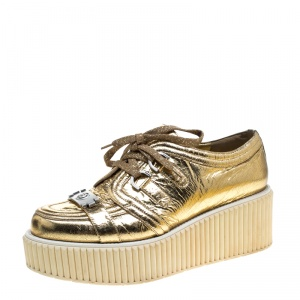 Chanel Metallic Gold Distressed Leather Creepers Platform Sneakers Size 41