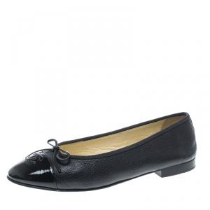 Chanel Navy Blue Leather CC Cap Toe Bow Ballet Flats Size 40.5