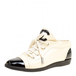 Chanel Cream/Black Leather  CC Cap Toe Sneakers Size 37.5