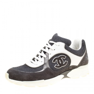 Chanel Monochrome Canvas And Suede CC Logo Lace Up Sneakers Size 40.5
