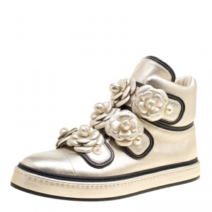 Chanel Metallic Gold Leather CC Camellia Flowers Embellished High Top Sneakers Size 39.5