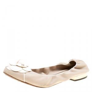 Chanel Beige Leather CC Camellia Scrunch Ballet Flats Size 39.5