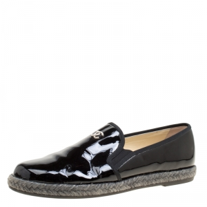Chanel Black Patent Leather Flattie CC Logo Espadrille Loafers Size 39.5