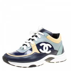 Chanel Multicolor Leather CC Logo Lace Up Sneakers Size 38
