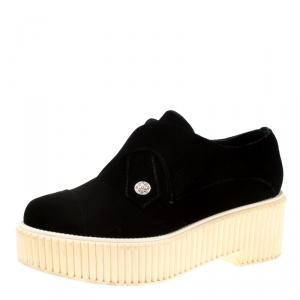 Chanel Black Velvet Platform Sneakers Size 40