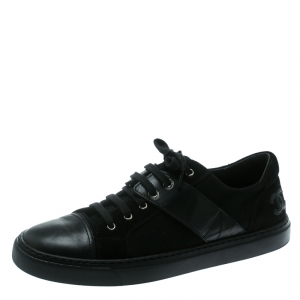 Chanel Black Canvas and Leather Cap Toe Lace Up Sneakers Size 40