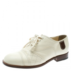 Chanel Cream Leather Oxfords Size 39.5