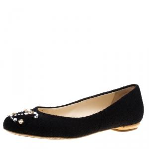 حذاء فلات باليه شانيل مرصع كريستال سواروفسكي تويد أسود مقاس 37.5